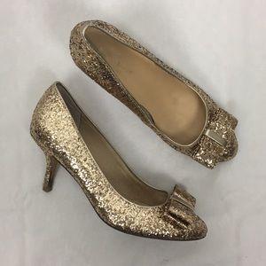 Kate Spade Cello Gold Glitter Bow Heels 🌿
